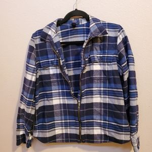 Vintage plaid blue and white zip up jacket